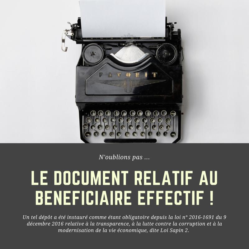 L'obligation de dépôt du document relatif au bénéficiaire effectif