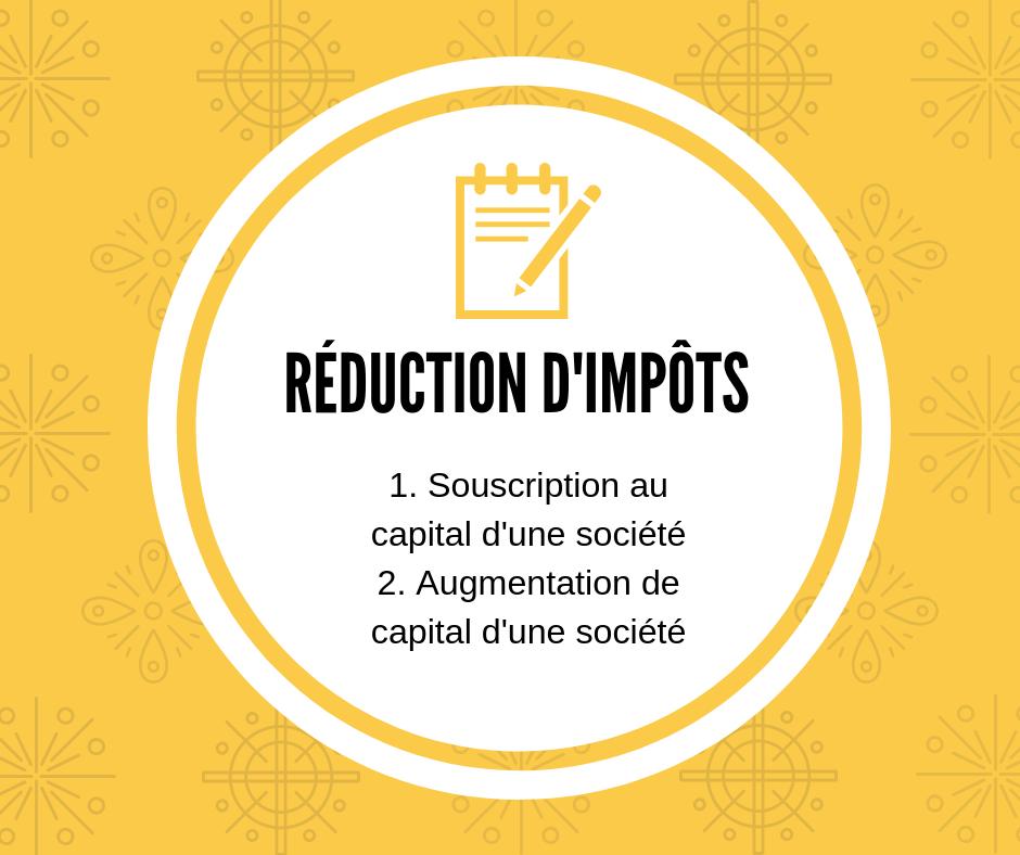 La réduction d'impôt sur le revenu au titre de souscription au capital d'une société